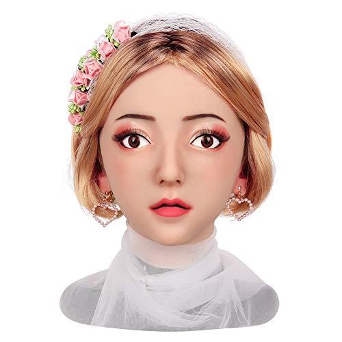 Roboter Kostüm Halloween - Handgemacht Kopf Maske Silikon Realistisch Weiblich Gesicht Kopfbedeckung Zum Crossdresser Transvestit Cosplay Halloween Kostüme Parodie Geschenk