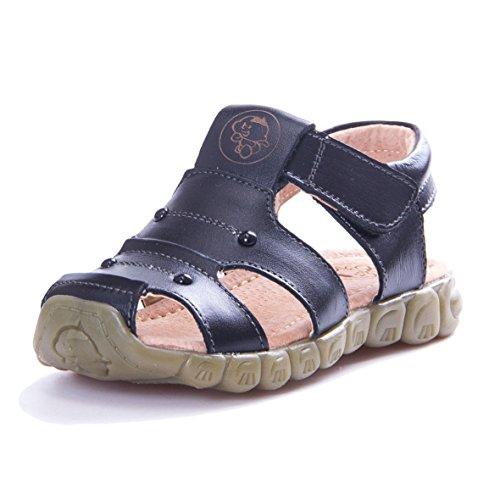 KVbaby Jungen Mädchen Geschlossene Sandalen Aus Weichem Leder Sandalen Kinder Outdoor biegsame Sohle Trekkingsandalen Lauflernschuhe Klettverschluss