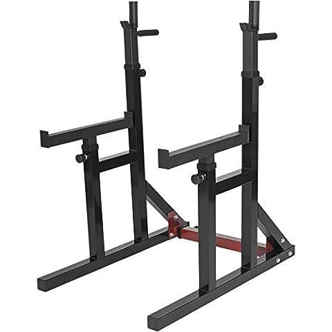Gorilla Sports Erwachsene Multi Squat Rack Verstellbare Ablage Kniebeugenständer, Schwarz, One
