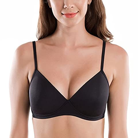 Delimira Women's Padded Smooth Non-Wired Triangle Contour T-shirt Bra Black