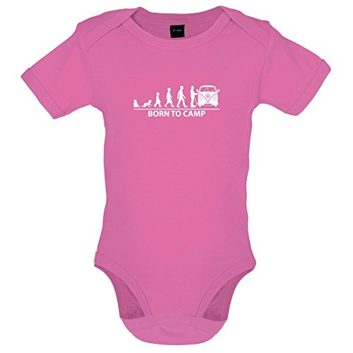 Born To Camp - Lustiger Baby-Body - Bubble-Gum-Pink - 0 bis 3 Monate (Baumwolle Gum Bubble Pink)
