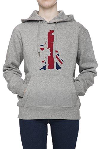 United Kingdom Map Flag Women's Grey Hoodie Jumper Pullover Top Sweatshirt Hoody