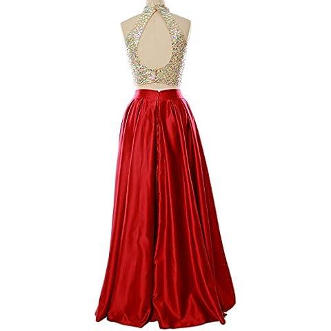 MACloth Women Two Piece High Neck Long Prom Homecoming Dress Evening Ball Gown (EU46, Verde Oliva)