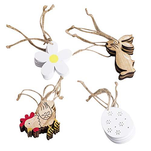 Amosfun decorazioni pasqua in legno form uova conigli fiore pulcino etichette regalo legno 16 pezzi