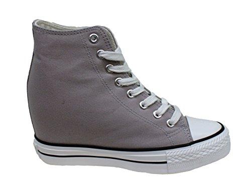 Cafè Noir Sneaker femmes Wedge Cm 7 Toile Noir Gris