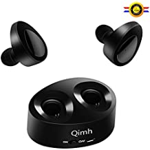 Casque Bluetooth, oreillettes sans fil Qimh Dual True Mini Twins casque stéréo Bluetooth V4.1Écouteurs avec micro intégré et étui de chargement pour iPhone Samsung iPad et la plupart des téléphones Android