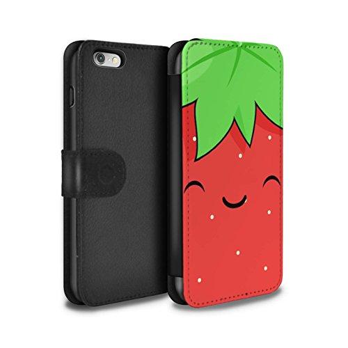STUFF4 PU-Leder Hülle/Case/Tasche/Cover für Apple iPhone 6+/Plus 5.5 / Spiegelei Muster / Kawaii Essen Kollektion Erdbeere