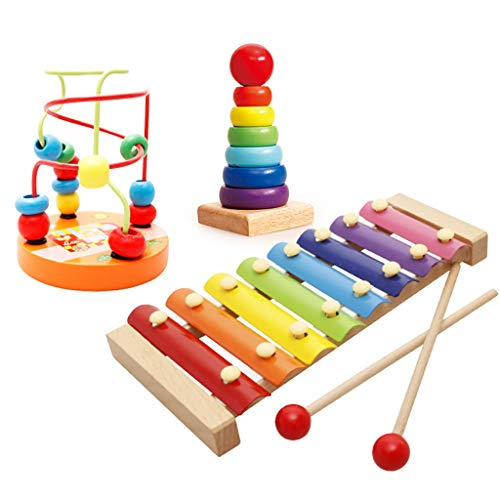 WRYWTH Baustein-Handklopfen auf dem kleinen Xylophon des Klavierpuzzlespielspielzeugs 1-2-3 jährige Oktave (Stil : D)