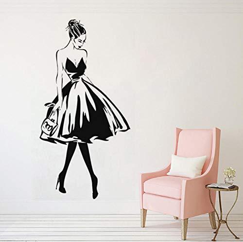 Qzheng Wandtattoo Frau Gesicht Stil Vinyl Wandaufkleber Kleidung Boutique Kleid Design Wand Beauty Salon Dekoration 57 * 112 Cm
