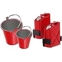 MagiDeal 2pcs Cubos de RC Coche Camión 2pcs Depósitos de Combustible 2x Montaje Escala 1/10 ACCS
