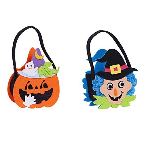 Wohlstand 2xHalloween Taschen,Kürbis Beutel zum Sammeln von Süßigkeiten zu Halloween Kinder Candy Bag Süßigkeiten Sammeltasche Beutel Süßigkeits-Beutel-Stereokürbis-Beutel