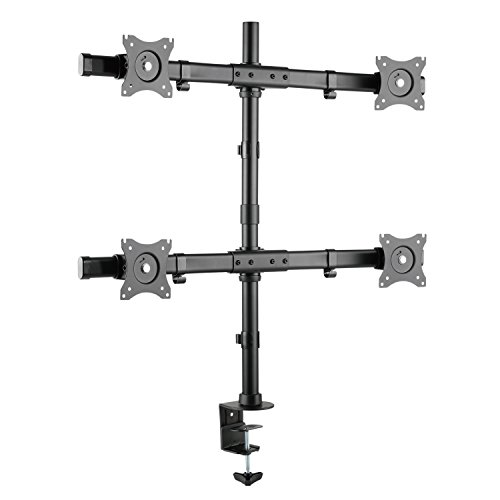 RICOO Universal Monitor Multimonitor Stand TS8411 Halterung 4 Bildschirme Schwenkbar Neigbar Tischhalterung LCD LED TFT 4K Curved Bildschirmhalterung VESA 75x75 100x100 33-74cm 13-27 Zoll Schwarz