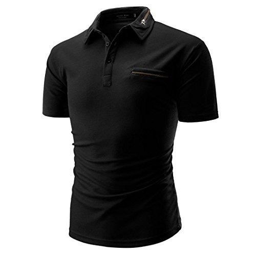 Sommer Casual Crew Neck Basic Einfarbige Brusttasche Kurzarm Baumwollmischung T-Shirt mit Kragen Größen m-XXL (M, Schwarz)