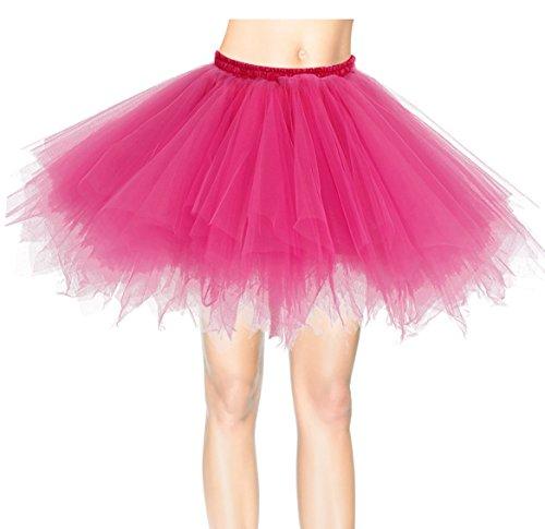 Dresstells 50er Vintage Petticoat Winter Falten Rock Tüllrock Kurz Ballett Tanzkleid Abendkleid Gelegenheit Zubehör Fuschia M