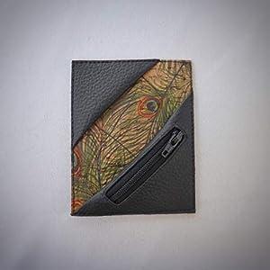 Kreditkartenetui Cardholder Herrengeldbeutel Visitenkarten Etui tablet Kork Pfau schwarz Münzfach RFID-secure…