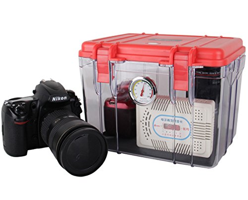 Dry Box Cabinet For Moisture & Fungus Control For DSLR Cameras & Lens. Includes Rechargeable Electronic Dehumidifier