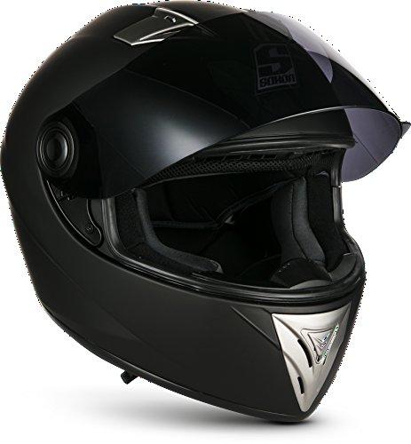 SOXON ST-550 Fighter · Integral-Helm Scooter-Helm Urban Motorrad-Helm Roller-Helm Cruiser Sport Helmet Sturz-Helm · ECE zertifiziert · inkl. Sonnenvisier · inkl. Stofftragetasche · Schwarz · XS (53-54cm) - 6