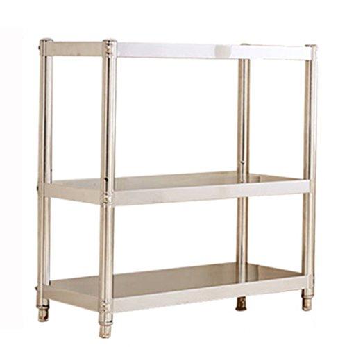 HWF Etagères de cuisine 3 couches Four à micro-ondes Finition pour étagères Porte-vaisselle Rangement Étagère au sol Étagères en étagère Étagère en cuisine en acier inoxydable