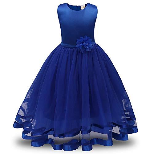 Mädchen Prinzessin Kleider, Blume Brautjungfer Solid Color Pageant Tutu Tüll Kleid Party Brautkleid Karneval Ostern High-End-Abendkleid(Blau,130)