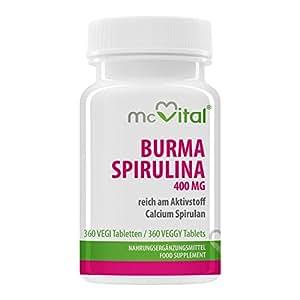 Birmanie Spiruline - 400 mg - riche à la substance active - calcium spirulan (8% = 32 mg) - 24 protection immunitaire - 360 comprimés