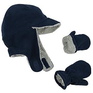 N 'ice Caps Conjunto de invierno de gorro con orejeras y manoplas para niños y bebés, con forro polar
