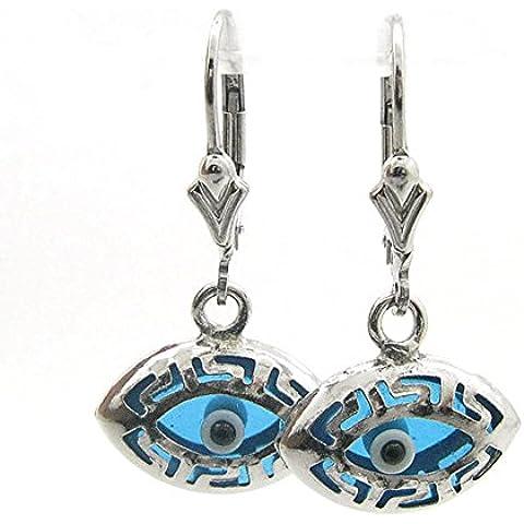icedtime Donna Argento Sterling 925con occhio orecchini a perno cerchio fashion ovale, stile greco Evil Eye Orecchini pendenti