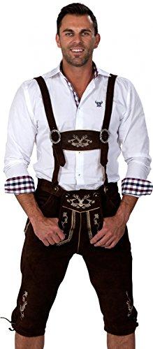 Almwerk Herren Trachten Lederhose Kniebund Modell Hipster, Farbe:Schwarz;Lederhose Größe Herren:50