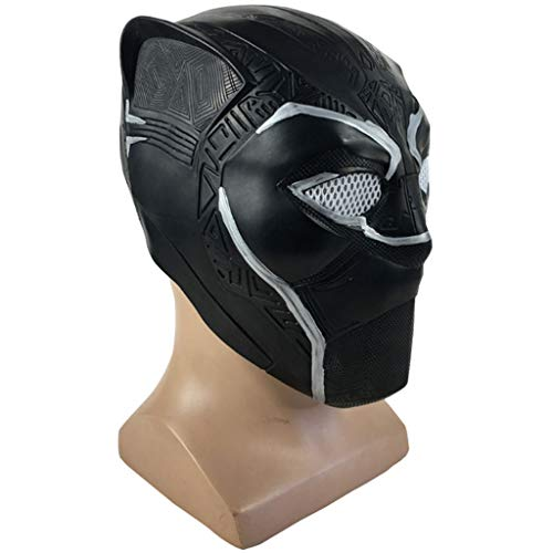 QWEASZER Marvel Avengers Black Panther Maske, Neuheit Halloween Kostüm Black Panther Helm Latex Film Cosplay für - Marvel Avengers Kostüm