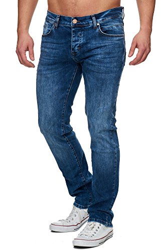 TAZZIO Slim Fit Herren Stretch Jeans Hose Denim 16531 Blau 32/32