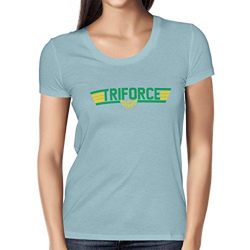 NERDO - Top Triforce - Damen T-Shirt, Größe L, hellblau (Tom Cruise Top Gun Kostüme)