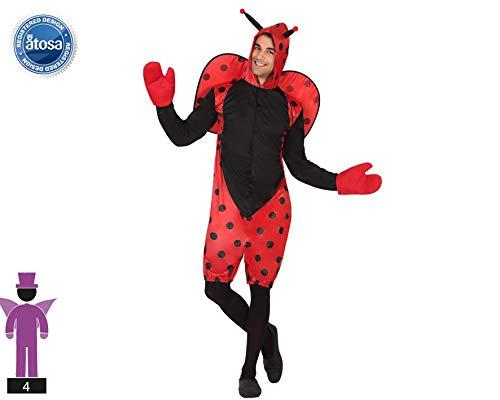 Atosa-63323 Atosa-63323-Costume da coccinella adulto, Uomo, 63323, Rosso, XXL