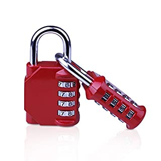 Combination Padlock [2 Pack], 4 Digit Security Padlock for School Gym Luggage (Red)