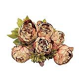 1 Bouquet 8 Köpfe FORH Edler Künstliche Pfingstrose Seiden Blume Blatt Elegant Home DIY Hochzeit Party Decor Plastikblumen Küche Zuhause (Kaffee)