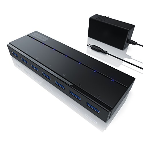 CSL – USB 3.0 Hub mit Netzteil | aktiver 7 Port Verteiler | inkl. 1x 12V/3A DC-Hohlsteckernetzteil | für PC / Notebook / Laptop / Ultrabook / Tablet PC / Macbook | Super Speed bis zu 5 Gbit/s Externer Dvd-brenner-kartenleser