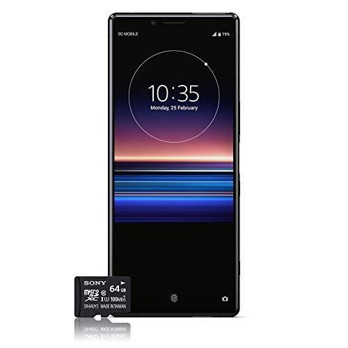 """Sony Xperia 1 - Smartphone de 6,5"""" 4K HDR OLED 21:9 (SD 855, 6 GB de RAM, 128 GB de memoria interna, triple cámara de 12+12+12 MP, Android O, Dual Sim), Color Negro [Versión española] + Micro SD 64GB"""