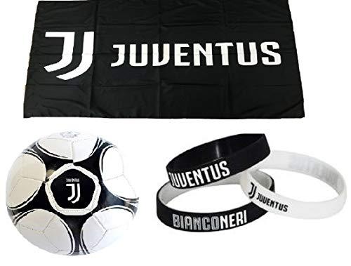 Giemme kit tifoso juventus n 3 juve bianconeri-pallone da calcio di cuoio juventus + bandiera ufficiale nera 135x95 cm + 3 braccialetti della juventus