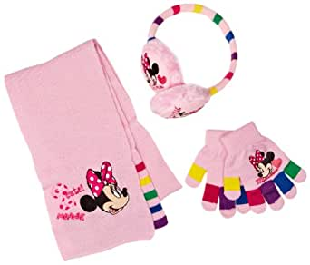 Disney Minnie Mouse Girls Scarf, Gloves and Earmuff Set Pink Lady One Size