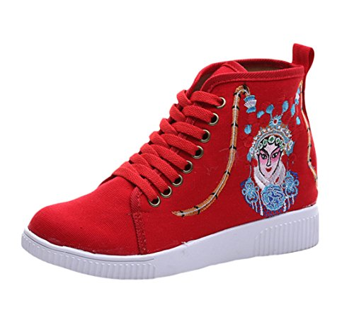 Icegrey Scarpe Da Ginnastica High Top Sneaker Ricamato A Mano Sneakers Rosso