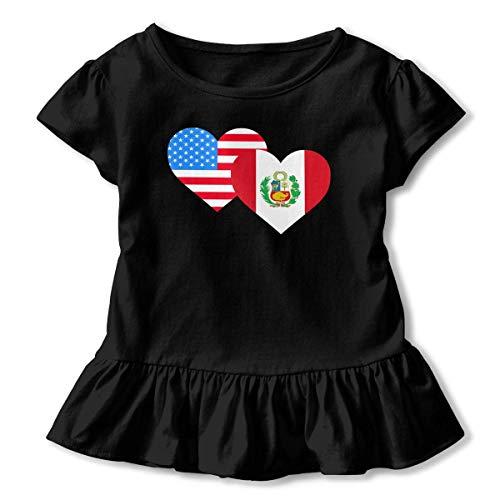 Toddler Baby Girl American Peru Heart Flag Funny Short Sleeve Ruffle T Shirt - American Heart Baby T-shirt