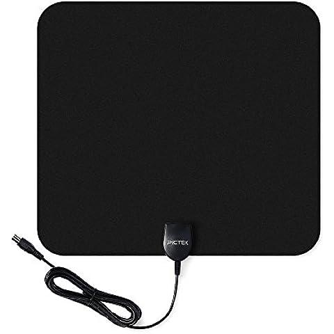 Antena de TV, Pictek Sutil Antena interior HDTV - 80KM gama de recepción, 25dB , 3m cable de alto rendimiento, Amplificador de Señal Removible - Negra