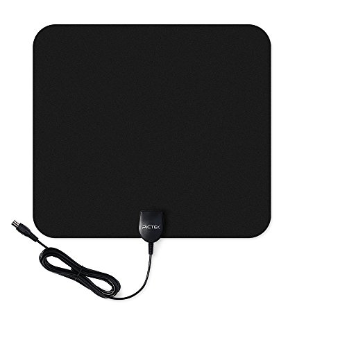 TV Aerial, Pictek Indoor TV Aerial Ultra Thin Amplified 50 Miles Range Digital HDTV Antenna with Detachable Amplifier Signal Booster, Black Test