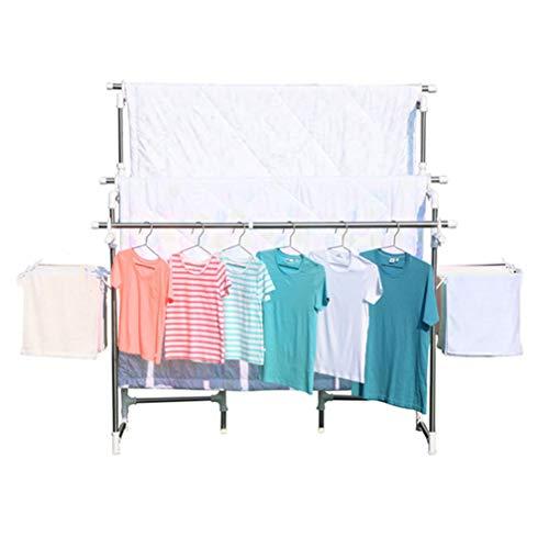 Stand Rack Faltbare Kleidung Airer Wäschetrockner Wäscheleine Wäscheständer Handtuchhalter für Indoor oder Outdoor Silber Höhenverstellbar 146~172 cm