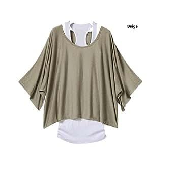 GZ-T01 Longshirt Tunika 2 in 1 Shirt Bluse Batwing Tank Top Kleid Poncho T-shirt (Gr.36, grau)
