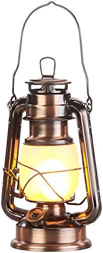 Lunartec LED-Sturmlaterne mit Flammen-Effekt, 25 cm Höhe, bronzefarben