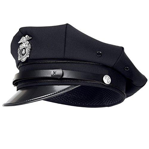 Offizier Kostüm Navy - US Police Polizei Schirmmütze Polizeimütze mit Abzeichen - XL - Navy