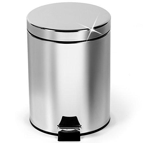 ArtMoon Moon Mini Cubo de Basura Redondo con Pedal 3 L  para Baño Cocina | Basurero de Acero Inoxidable Brillante | D 17 x 27 cm