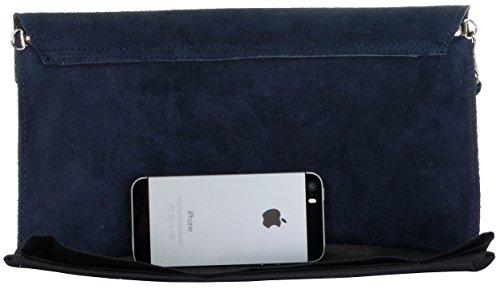 Pochette Design Italiano camoscio in busta, polso, spalla o borsa a tracolla.Include una custodia protettiva marca Blu navy