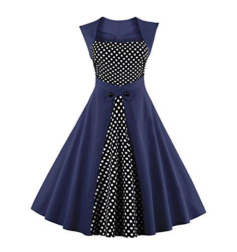 U8Vision Damen Elegant Ärmellos Cocktailkleid 50er Jahre Kleid Polka Dots Retro Party Rockabilly Abendkleid Schwarz Gr.S-4XL Dunkelblau2