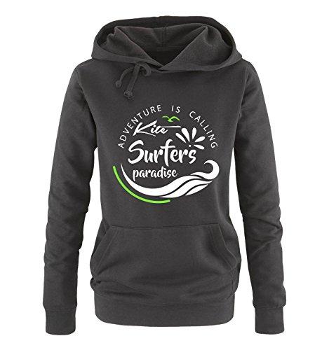Comedy Shirts - Kite Surfers Paradise - Damen Hoodie - Schwarz/Weiss-Neongrün Gr. XXL