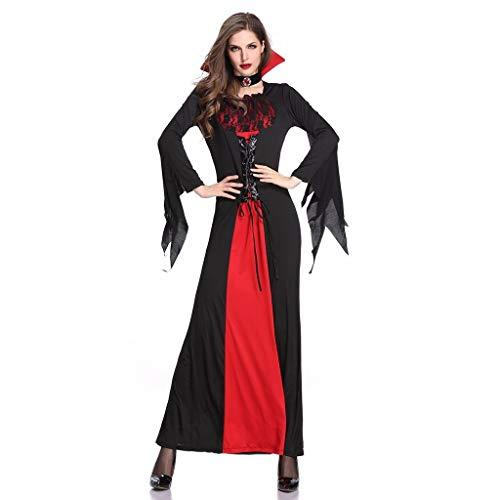 BIBOKAOKE Abendkleider für Damen Halloween Langer Rock der Königin Cosplay Vintage Kostüm Lange Ärmel Partykleid (Winter Königin Kostüm)